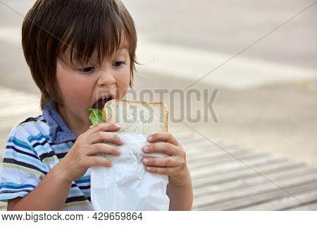 Schoolchildren, Preschooler, Boy Eating His Lunch, Snack, Breakfast In The School Yard. Food For Chi