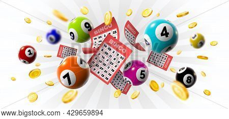 Bingo Winner Background With Lottery Tickets, Balls And Gold Coins. Realistic Keno Gambling Game Win