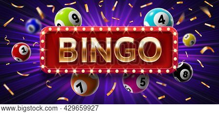 Winner Poster With Lottery Balls With Numbers, Confetti And Golden Bingo. Realistic Lotto Game Big W