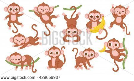 Cute Cartoon Jungle Baby Monkey Character Poses. Exotic Tropical Animal Mascot, Ape Jumping On Tree,