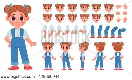 Cartoon Little Girl Character Constructor With Gestures And Emotions. Child Mascot Side And Front Vi