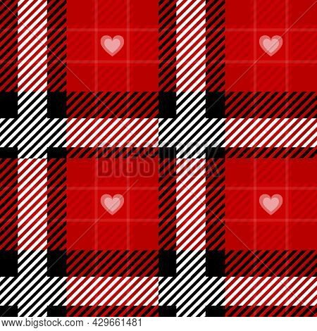 Vector Red Plaid Check Seamless Pattern In Geometric Abstract Style Can Be Used For Fashion Fabric D