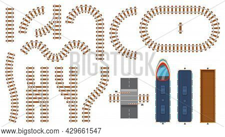 Flat Railway And Railroad Elements Top View. Train Track Map Construction, Barrier, Curved Rail Road
