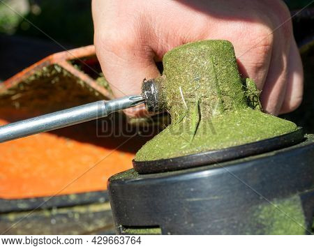 Close-up Of Unscrewing The Screw On The Gearbox Of The Grass Mowing Trimmer. Maintenance Of Equipmen