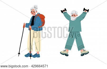 Senior Grey-haired Man Lifting Dumbbell And Woman With Backpack Pole Walking Vector Set