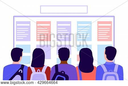 Group Of People Students With Bags Looks At List, Plan, Schedule Or Training Course In School, Back