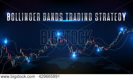 Abstract Background Of Stock Market Bollinger Bands Trading Strategy And Candle Stick Graph