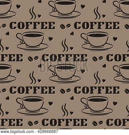 Seamless Coffee Pattern With Hand Drawn Elements. Doodle Cup, Hearts And Coffee Beans. Background Fo