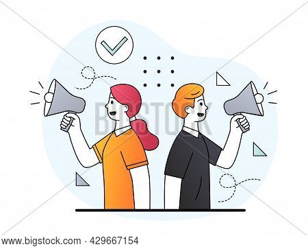 Young Male And Female Business Characters Are Shouting In Megaphone For Getting Attention. Concept O