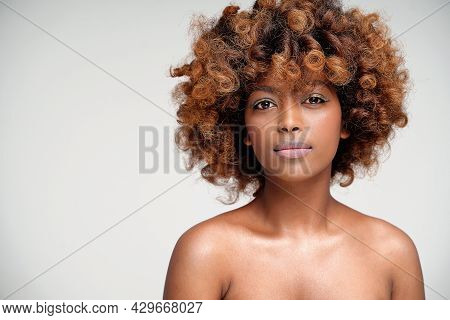 Beauty Portrait Of Young Attractive Afro Woman With Perfect Skin And Delicate Glamour Makeup With Ye