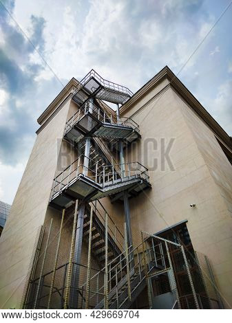 Fire Escape For Safety On The City Building.