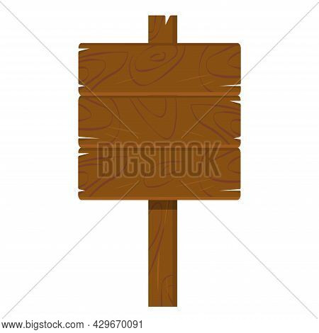 Wooden Plaque, Billboard Sign Isolated On White Background. Banner Made Of Dark Brown Oak
