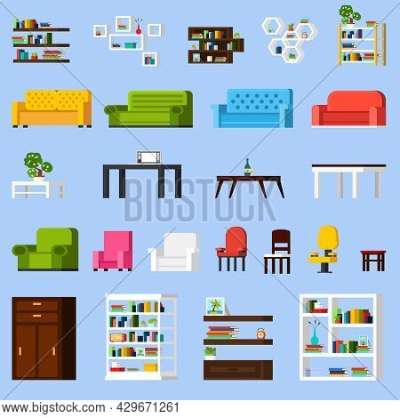Interior Elements Orthogonal Icon Set Of Different Bookshelves Sofas Tables Armchairs Chairs And Rac