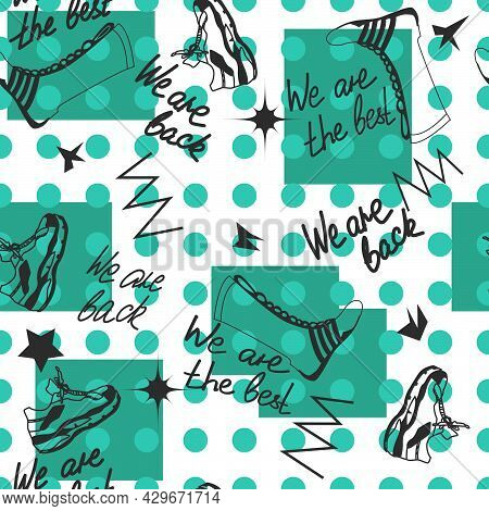 Seamless Pattern With The Image Of Sports Shoes On A White-green Background For Prints On Fabrics, C