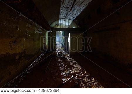 Old Dark Abandoned Dirty Soviet Bunker, Echo Of Cold War