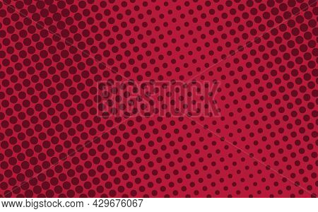 Pop Art Creative Concept Colorful Comics Book Magazine Cover. Polka Dots Red Background. Cartoon Hal