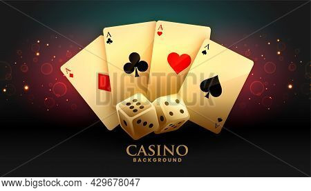 Ace Cards And Dice Casino Background Design Vector Illustration