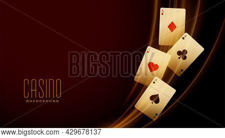 Golden Ace Cards With Light Streak Background Design Vector Illustration