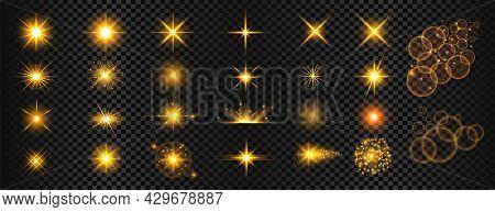 Transparent Golden Light Flare And Sparkles Mega Set