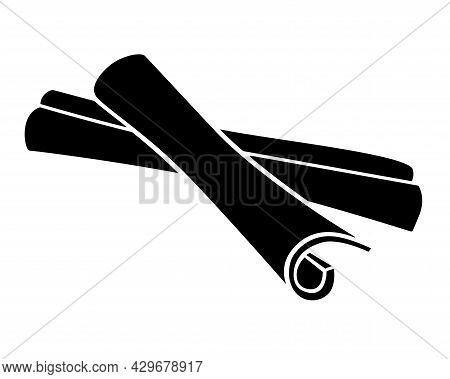 Cinnamon - Dried Spices - Vector Silhouette Illustration For Logo Or Pictogram. Cinnamon Sticks - Sp