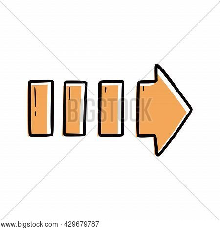 Orange Arrow Element. Doodle Sketch Scribble Style. Hand Drawn Arrow Vector Illustration For Right M