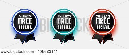 Free Trial Badge Stamps For 5 10 And 30 Days Design Vector Illustration