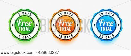 Set Of Three Free Trial Badges Design Vector Illustration
