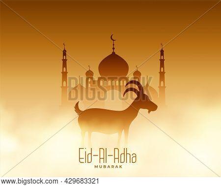 Bakrid Eid Al Adha Mubarak Card Design Vector Illustration