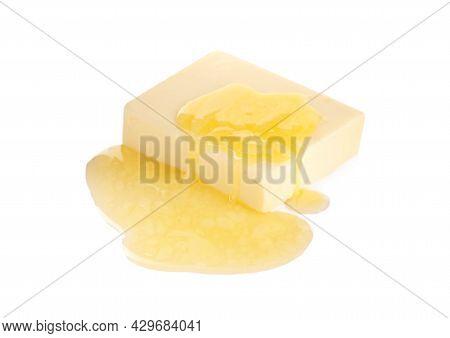Tasty Fresh Melting Butter On White Background