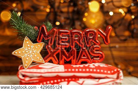 Christmas Holiday Sparkling. Xmas Letters. Christmas Writing. Xmas Gold Stars Decoration Background.