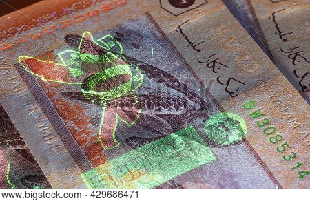 Macro Photography Of 20 Malaysian Ringgit With Fluor Light. Extreme Close-up Of Rm20 Malaysia. Sharp