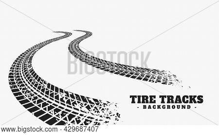 Car Tire Track Wheel Print Background Design Vector Illustration