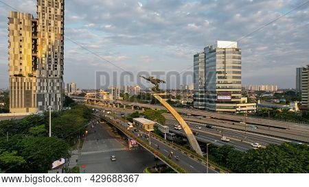 Aerial View Of The Dirgantara Statue Monument Or Better Known As The Pancoran Statue Is One Of The S