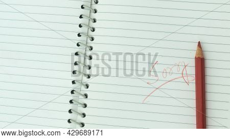 Sorry Written On Open Notebook. Closeup. Mistake Learning, Blooper, Regret Sayings In Love Relations