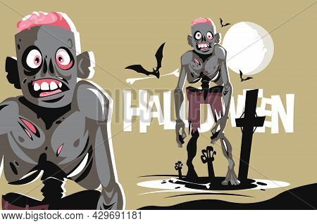 Scary Walking Zombie Character Vector Illustration. Flying Bats And Creepy Atmosphere On Cemetery Fl