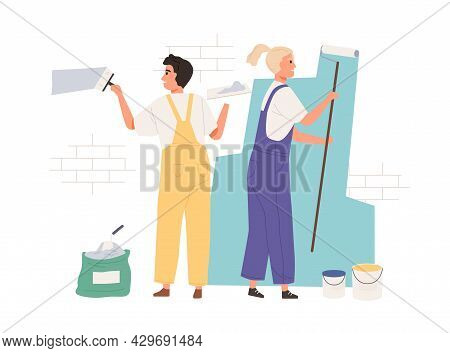 Painters Dyeing Wall With Paint Roller And Brush Tool. Happy Workers Painting Building With Paintbru
