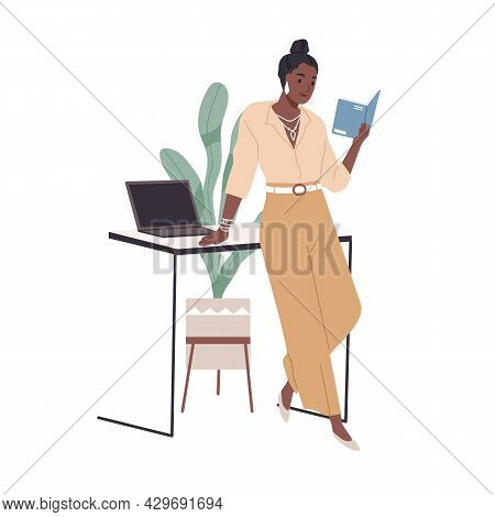 Woman Reading Book At Office Desk. Happy Reader Studying Professional Business Literature. Modern Af