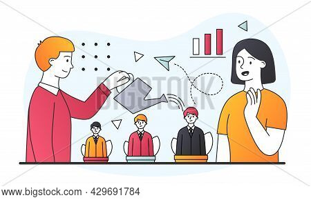 Male Hr Manager Is Watering Soft Pots With Growing Managers In Them. Concept Of Business Topics, Hum
