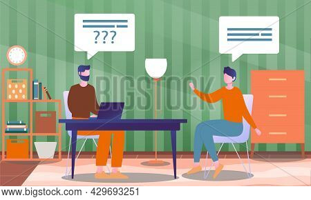 Male Character Is Interviewing A Famous Person In Studio Fro A Tv Show. Concept Of Television Or Int