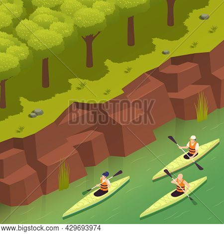 Rafting Canoeing Whitewater Recreation Adventures Park Isometric Composition With 3 Kayakers Paddlin