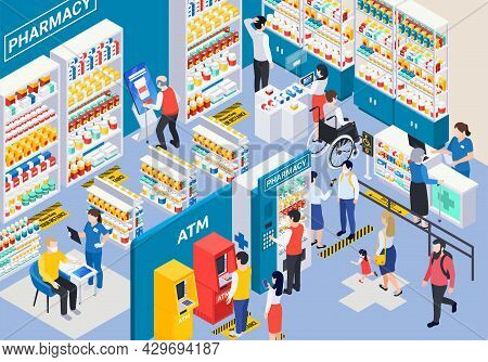Isometric Modern Pharmacy Store Interior With Showcases Vending Machine Atm Marking On Floor And Cus