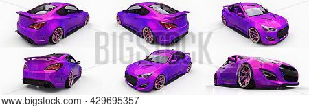 Sports Car Coupe. Advanced Racing Tuning With Special Parts And Wheel Extensions. 3D Rendering