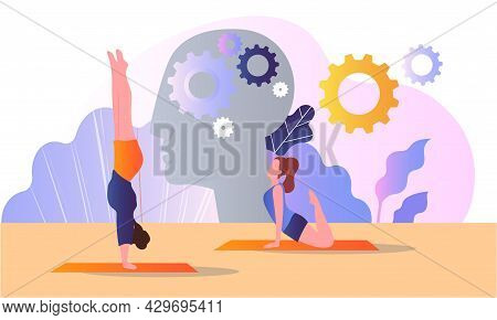 Female Characters Are Doing Yoga And Meditation As Psychological Body Treatment. Consciousness Pract
