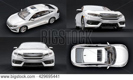 3D Illustration. Urban Family Sedan On A Black Background. 3D Rendering.