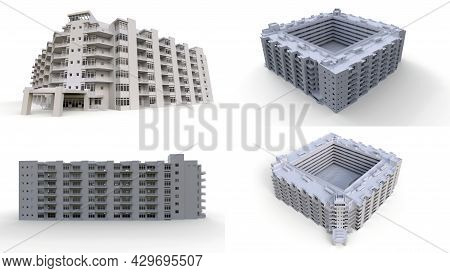 Condominium Model In White Color With Transparent Glasses. Apartment House With A Courtyard. 3D Rend