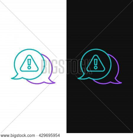 Line Exclamation Mark In Triangle Icon Isolated On White And Black Background. Hazard Warning Sign,