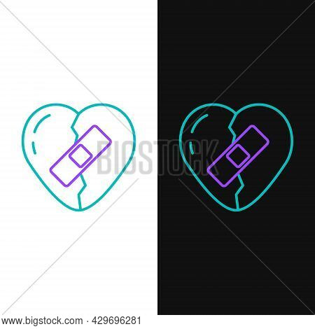 Line Healed Broken Heart Or Divorce Icon Isolated On White And Black Background. Shattered And Patch