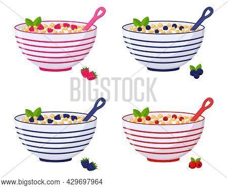 A Set Of Bowls Of Cereal, Corn Flakes With Berries, Raspberries, Blueberries, Cranberries, Blackberr