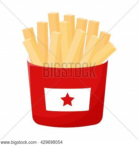 Fried French Fries In A Red Paper Box. Street Fast Food. Fat, High-calorie Food. Flat Cartoon Style,