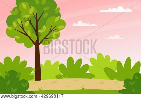 Horizontal Spring Summer Landscape. Sunset Sky. A Forest With Trees, Bushes, And A Path. Clear Weath